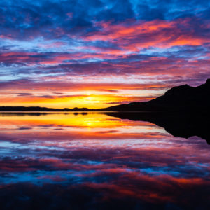 Colorful sunset on lake Kleifarvatn in Reykjanes Iceland
