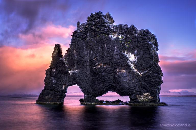 The rock Hvítserkur in North west Iceland