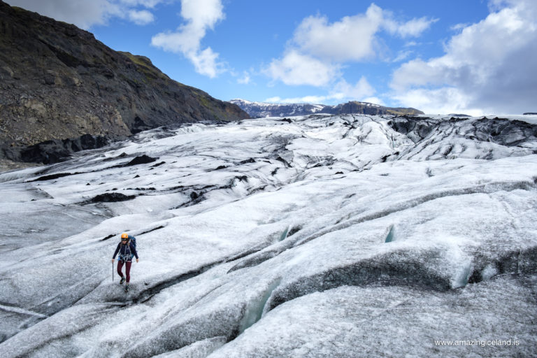 Hiking on Svinafellsjokull glacier on south coast of Iceland