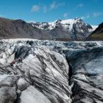 Hiking on Svinafellsjokull glacier in Skaftafell Nationalpark on south east coast of Iceland