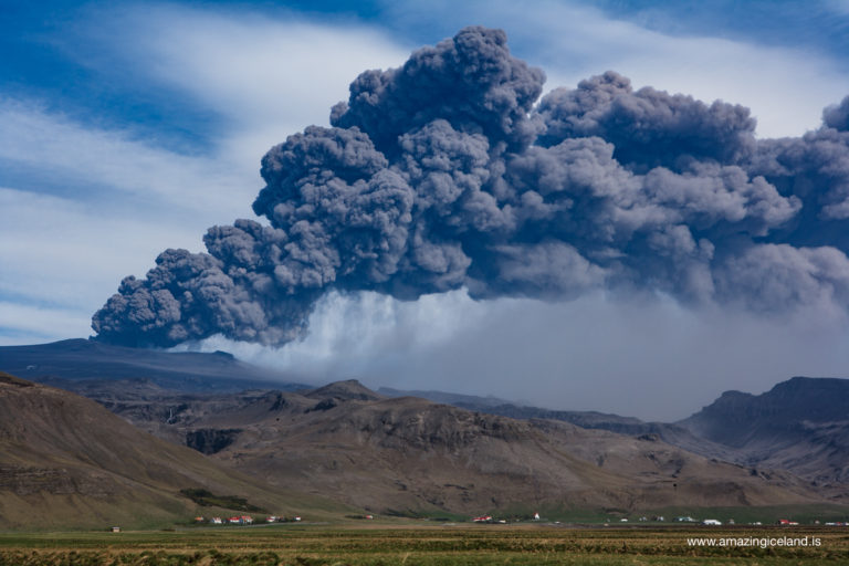 Black cloud of ash from 2010 eruption in Eyjafjallajokull volcano on south coast of Iceland