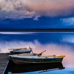 Boats on Lake laugarvatn on golden circle in Iceland