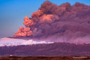 Eruption in Eyjafjallajokull glacier and volcano in april 2010