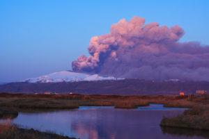 Evening sun on volcano Eyjafjallajokull