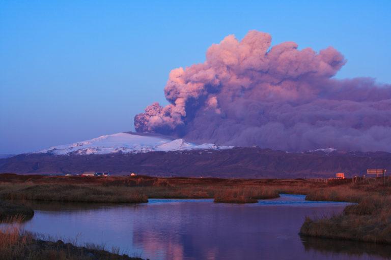 Evening sun on glacier Eyjafjallajokull in the 2010 eruption of Eyjafjallajokull volcano on the south coast of Iceland
