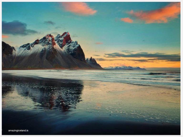 Sunset on Mt Vestrahorn in East Iceland