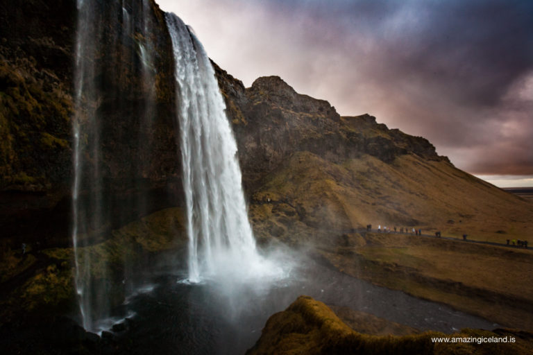 Side view of Seljalandsfoss waterfall on the south coast of Iceland