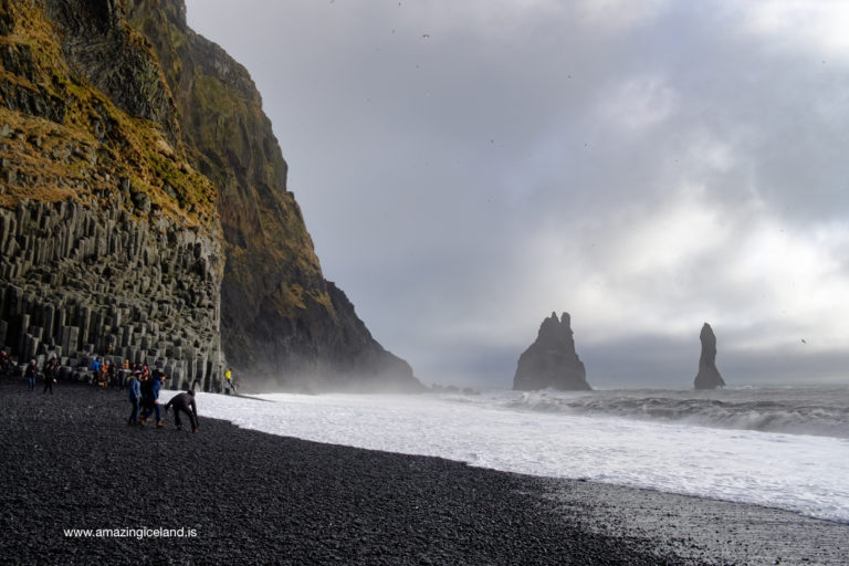 Reynisdrangar at black sand beach in Iceland