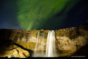 Aurora borealis over Seljalandsfoss