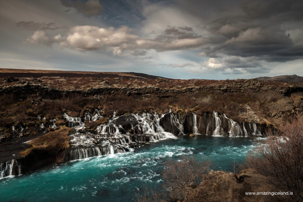 Hraunfossar waterfalls in Hvítá in West Iceland