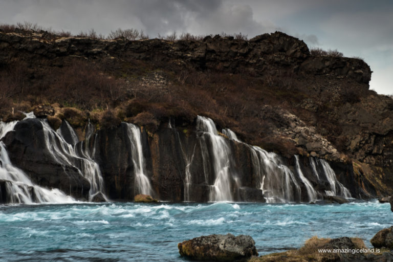 Hraunfossar waterfalls in Hvítá in West Iceland