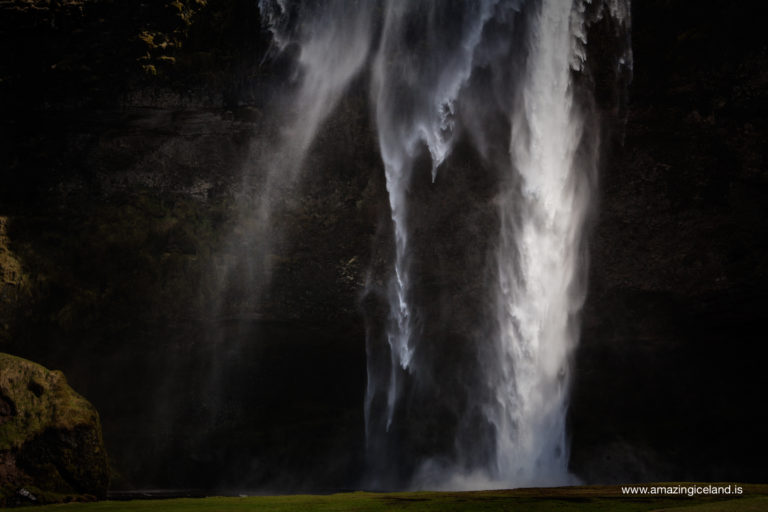 Dramatic light on Seljalandsfoss waterfall on south coast of Iceland