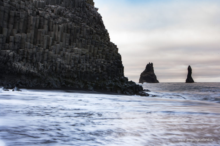 sneaker waves at Reynisfjara, black sand beach on the south coast of Iceland