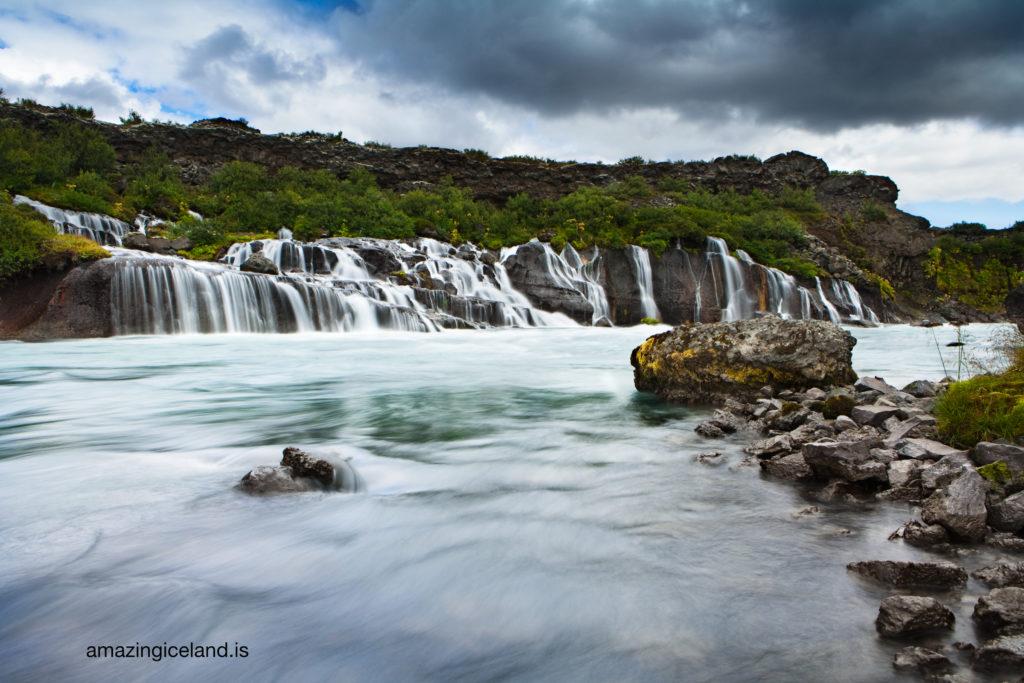 Hraunfossar waterfalls in borgarfjordur Iceland