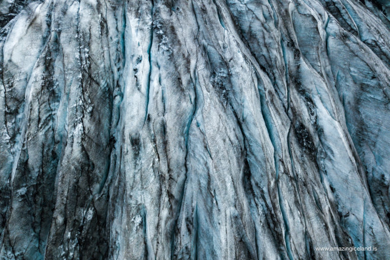 Close up of formation in Sólheimajökull glacier on south coast of Iceland