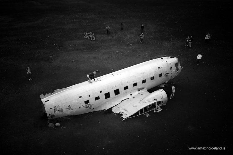 Douglas C-117 Plane wreck on Sólheimasandur on south coast of Iceland from air