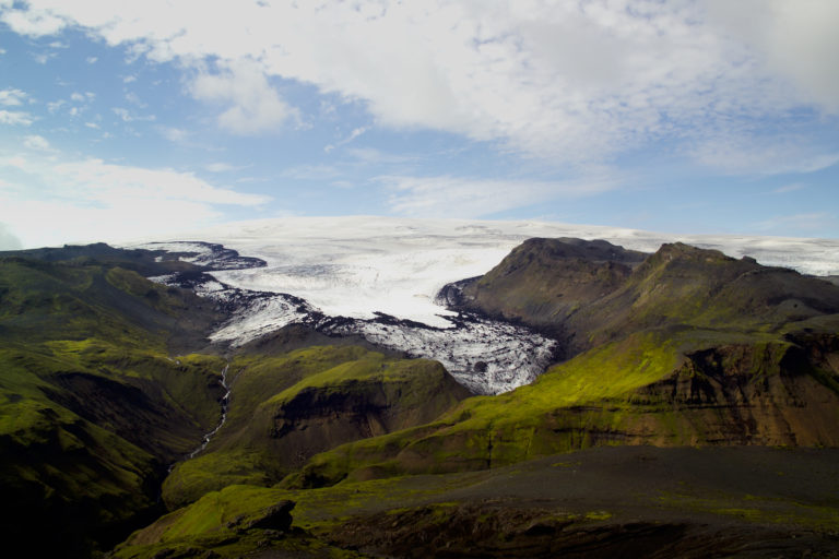 Mýrdalsjökull and Sólheimajökull glaciers on south coast of Iceland