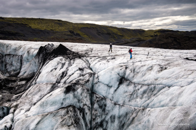 iceclimbers on solheimajokull glacier on south coast of Iceland