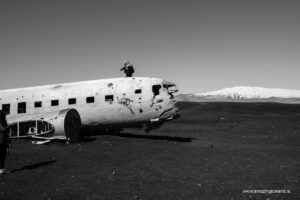 Douglas C-117 Plane wreck on Sólheimasandur and Mýrdalsjökull on south coast of Iceland