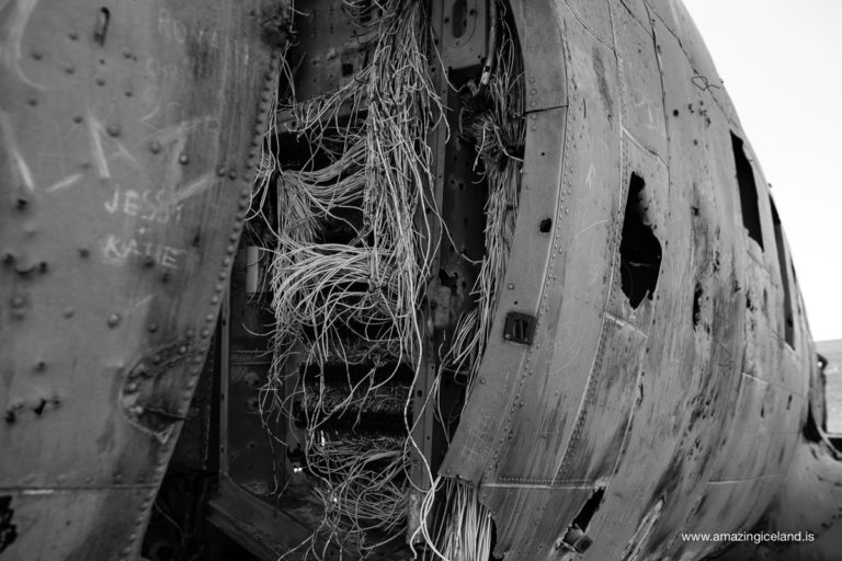 Wires hanging from Douglas C-117 Plane wreck on Sólheimasandur on south coast of Iceland