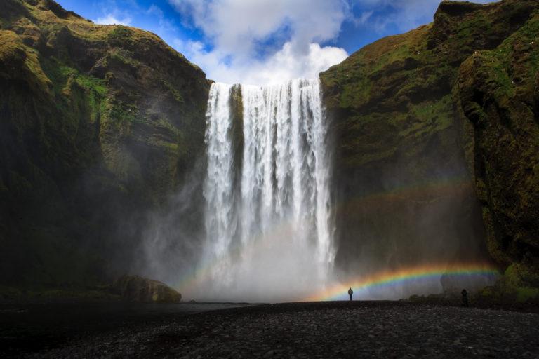 Rainbow at Skogarfoss waterfall