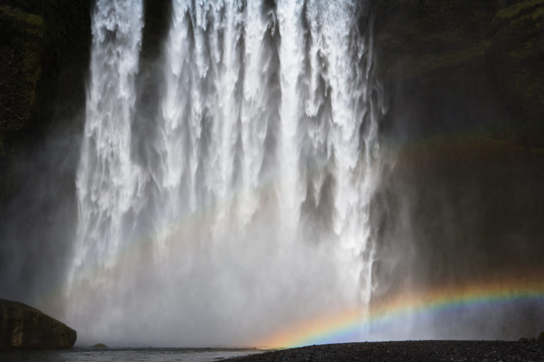 Rainbow at Skogarfoss waterfall