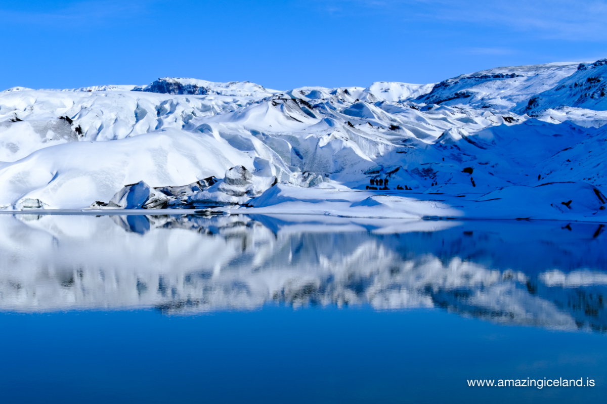 Solheimajökull glacier on south coast of Iceland in snow and winter dress