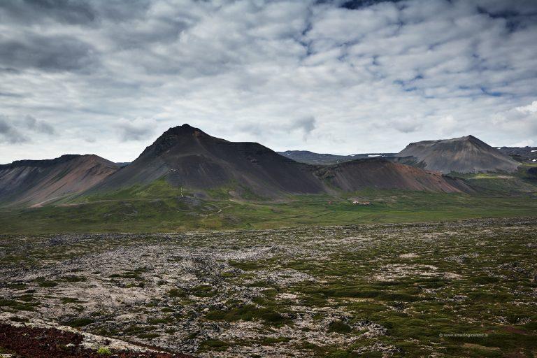 Mt Öxl and búðarhraun lava field in Snæfellsnes Iceland
