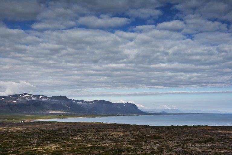 View over Búðahraun and Snæfellsnes