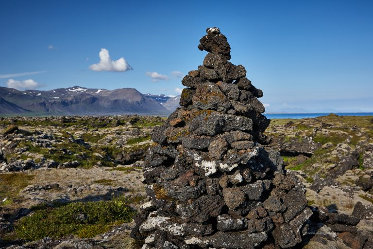 Cairn in Budir lava field