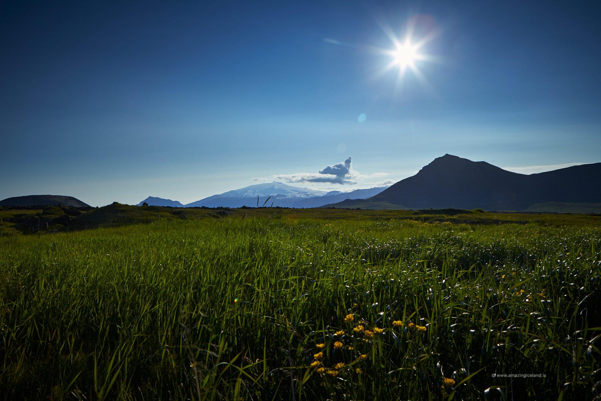 Snæfellsjökull glacier and Budir lava field in Snæfellsnes Iceland