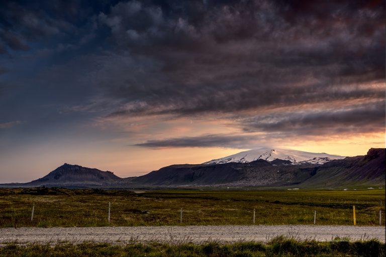 Sun setting over Snæfellsjökull glacier in Snæfellsnes Iceland