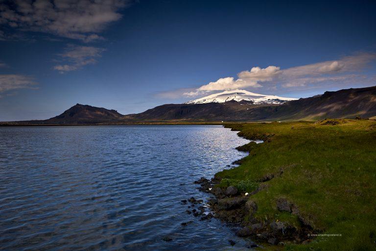 Snæfellsjökull volcano and Arnarstapi in Snæfellsnes Iceland