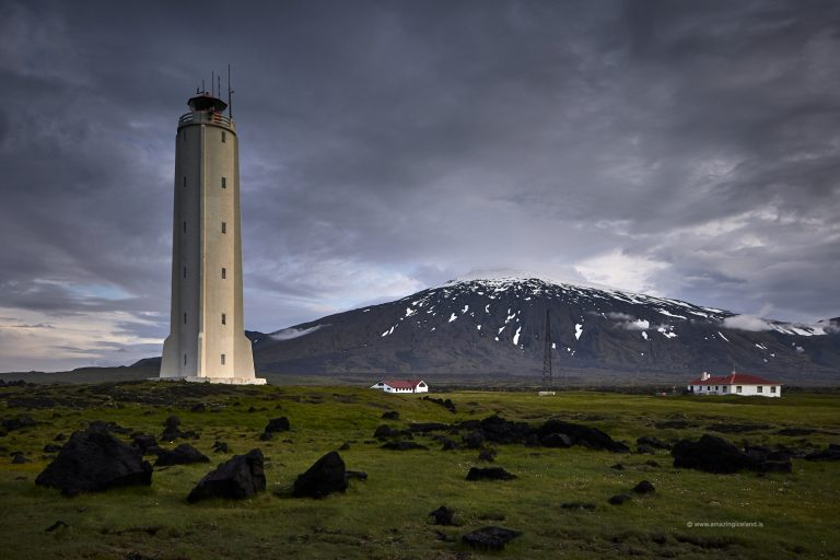 The lighthouse at Malarrif wit snæfellsjökull