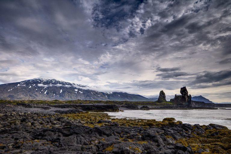 Snæfellsjökull and Lóndrangar in Snæfellsnes Iceland