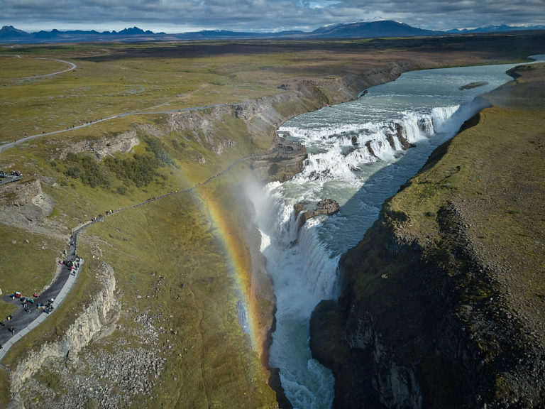 Arial photo of Gullfoss waterfall with rainbow