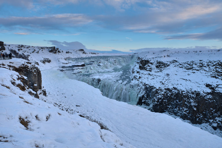 Frozen Gullfoss waterfall in winter on Golden circle in Iceland