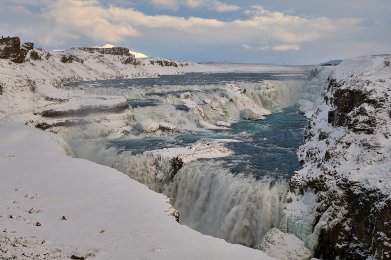 Frozen Gullfoss waterfall on Golden circle in Iceland