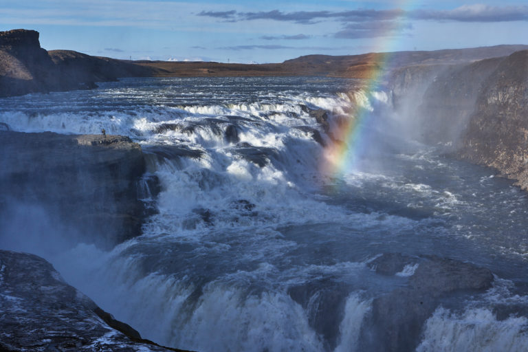 Rainbow over Gullfoss waterfall on Golden circle in Iceland
