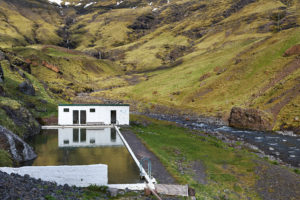 Seljavallalaug geothermal natural swimming pool in Iceland