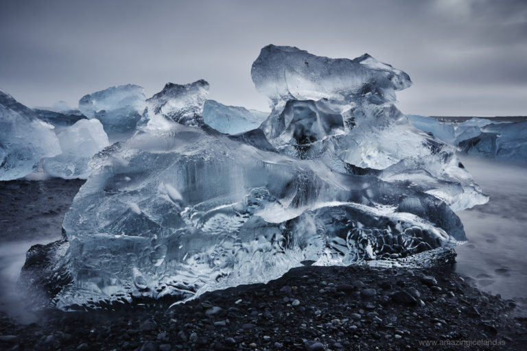 Transparent big Ice block on Diamond beach in Iceland