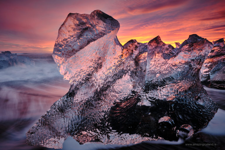 Ice sculptural sphinx diamond at diamond beach in Iceland
