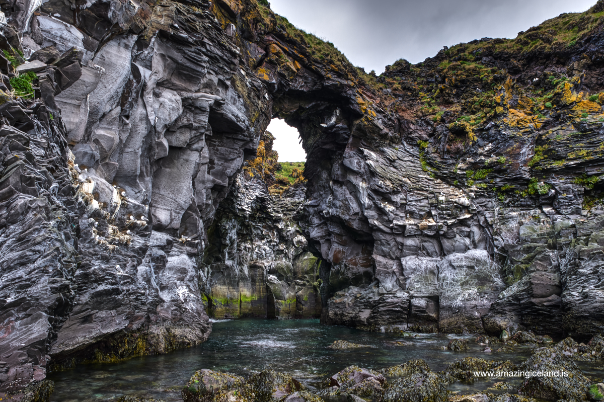 "The cove ""Baðstofa"" at Hellnar in Snæfellsnes Iceland"