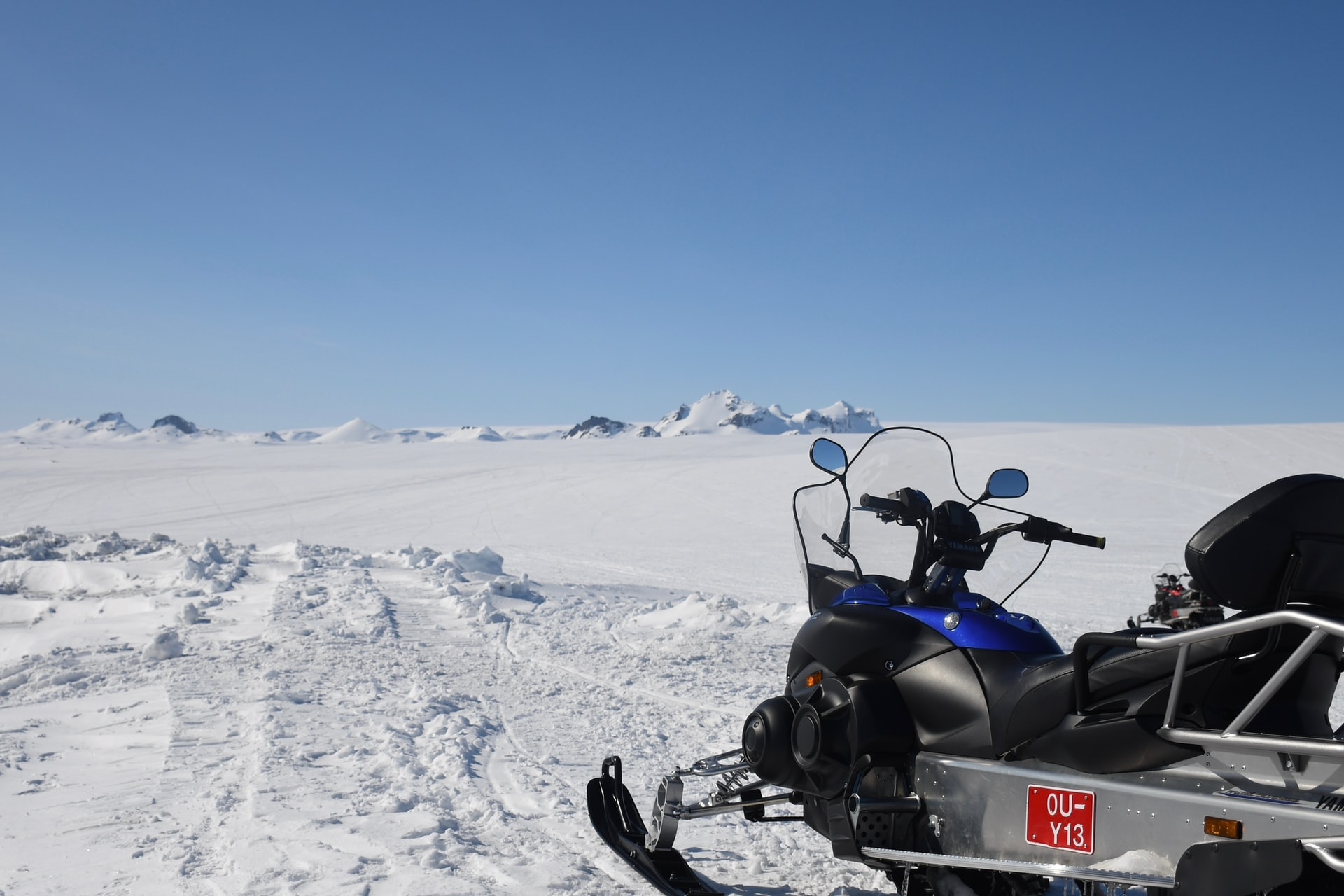 Snowmobile on Langjökull glacier in Iceland