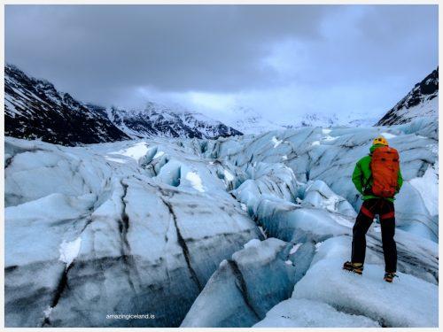 Glacier gudie on Svinafellsjokull glacier in south east Iceland
