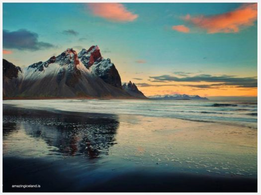 Sunset on Mt Vestrahorn in East Iceland